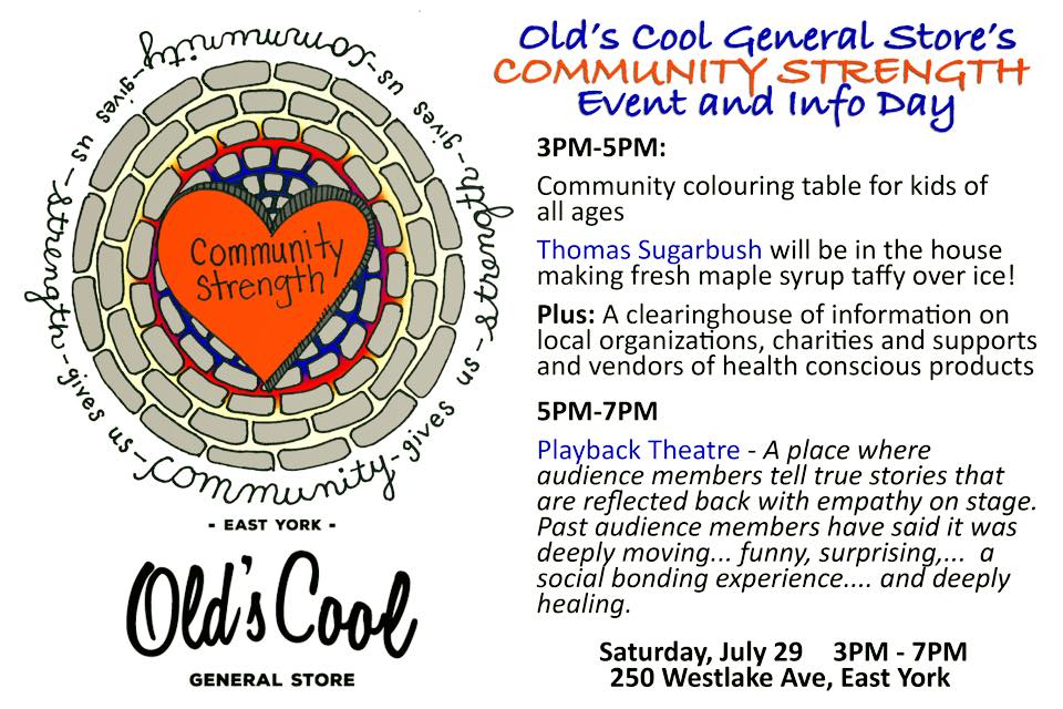 Old's Cool General Store - Community Strength Event flyer